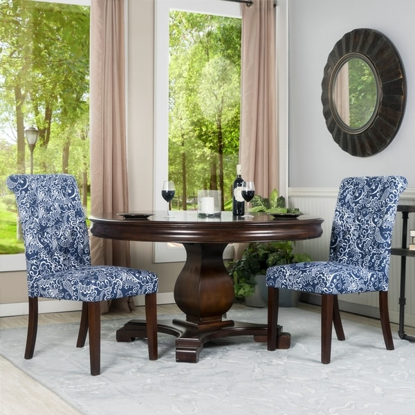 Beau Set Of Two Blue And White Linen Tufted Parsons Chairs