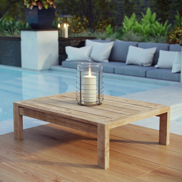 Oliver U0026amp; James Detaille Distressed Square Teak Coffee Table