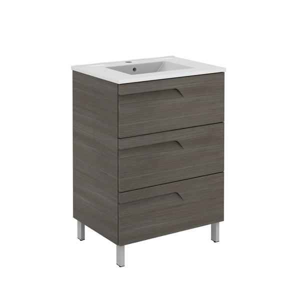 Eviva Vitta 39″ Ashy Modern Bathroom Vanity with White Integrated Porcelain Sink