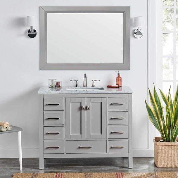 "Eviva Aberdeen 42"" Gray Transitional Bathroom Vanity w/ White Carrara Top. Opens flyout."