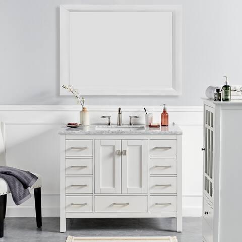 "Eviva Aberdeen 42"" White Transitional Bathroom Vanity w/ White Carrara Top"