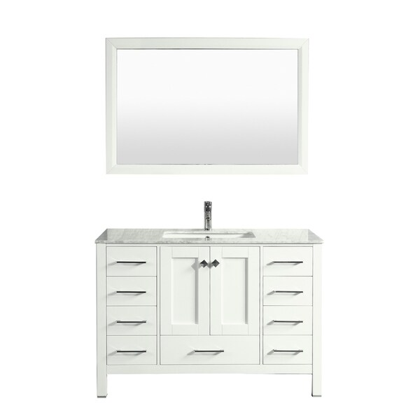 Shop Eviva Aberdeen 42 Transitional White Bathroom Vanity With White Carrera Countertop Free