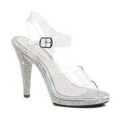 Women's Fabulicious Flair 408DM Ankle Strap Sandal Clear PVC/Silver Multi Rhinestone