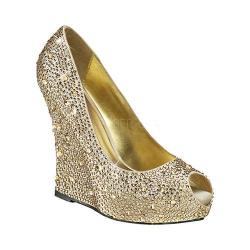 Women's Fabulicious Isabelle 18 Wedge Heel Champagne Satin