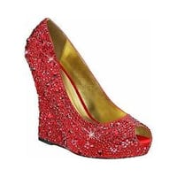 Women's Fabulicious Isabelle 18 Wedge Heel Red Satin