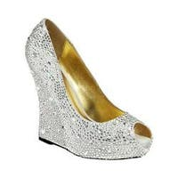 Women's Fabulicious Isabelle 18 Wedge Heel Silver Satin