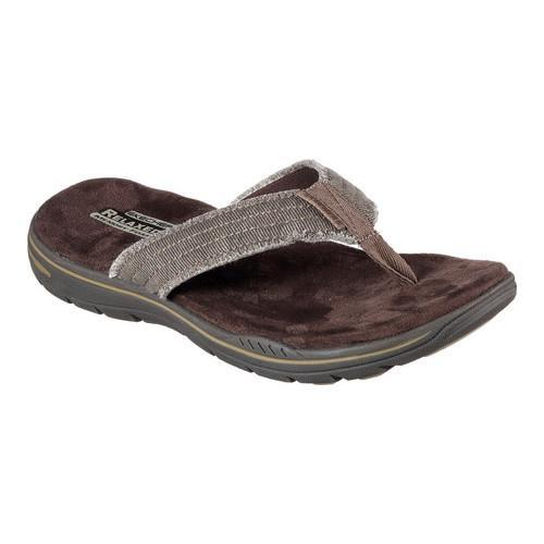 Mens Skechers Relaxed Fit Evented Arven Thong Sandal Chocolate