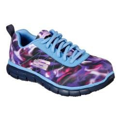 Women's Skechers Work Relaxed Fit Synergy Arrey Alloy Toe Sneaker Blue/Multi