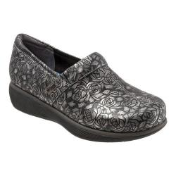 Women's SoftWalk Meredith Clog Black Metallic Rose Embossed Leather