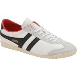 Men's Gola Bullet Nylon Sneaker White/Black/Red Nylon/Suede
