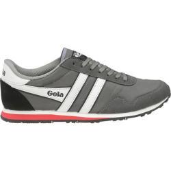 Men's Gola Monaco Sneaker Grey/White/Red Nylon/Synthetic Suede