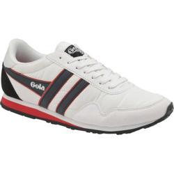 Men's Gola Monaco Sneaker White/Navy/Red Nylon/Synthetic Suede