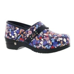 Women's Sanita Clogs Karina Professional Closed Back Clog Blue Printed Patent Leather