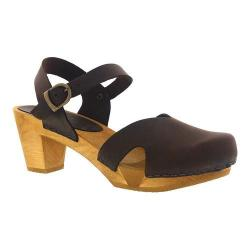 Women's Sanita Clogs Matrix Closed Toe Sandal Antique Brown Oiled Leather