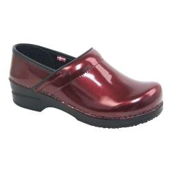 Women's Sanita Clogs Sabel Professional Closed Back Clog Bordeaux Printed Patent Leather