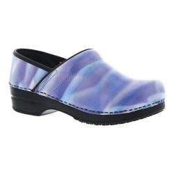 Women's Sanita Clogs Sky Professional Closed Back Clog Light Blue Printed Patent Leather