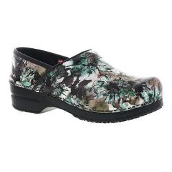 Women's Sanita Clogs Sophia Professional Closed Back Clog Green Multi Printed Patent Leather