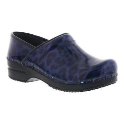 Women's Sanita Clogs Sylvia Professional Closed Back Clog Navy Printed Patent Leather