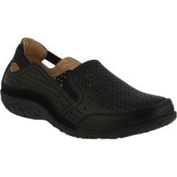 Women's Spring Step Juhi Perforated Slip On Black Full Grain Leather