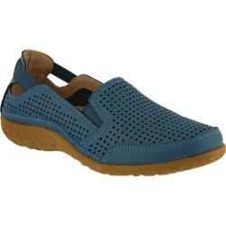 Women's Spring Step Juhi Perforated Slip On Blue Full Grain Leather