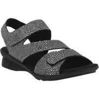 Women's Spring Step Nadezhda Strappy Sandal Black Multi Printed Leather