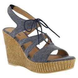 Women's Azura Kaba Ghillie Wedge Sandal Denim Blue Cotton Denim