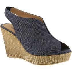 Women's Azura Saya Peep-Toe Wedge Bootie Denim Blue Cotton Denim