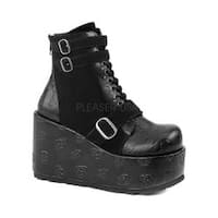 Women's Demonia Concord 55 Ankle Boot Black Vegan Leather/Velvet