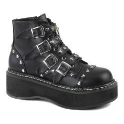 Women's Demonia Emily 315 Ankle Boot Black Vegan Leather