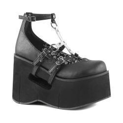 Women's Demonia Kera 09 T-Strap Black/White Vegan Leather