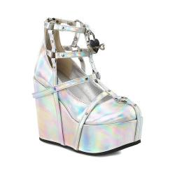 Women's Demonia Poison 25 2 Wedge Silver Hologram Vegan Leather
