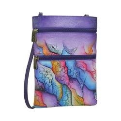 Women's Anuschka Mini Double Zip Travel Crossbody Cosmic Quest