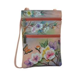 Women's Anuschka Mini Double Zip Travel Crossbody Japanese Garden