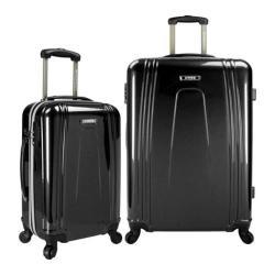US Traveler 2-Piece USB Port EZ-Charge Expandable Spinner Set Black