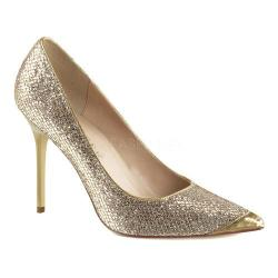 Women's Pleaser Classique 20 Pump Gold Glittery Lame Fabric