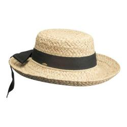 Women's Scala L521OS Straw Hat with Herringbone Bow Natural