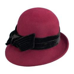 Women's Scala LF170 Cloche Bucket Hat with Velvet Bow Burgundy