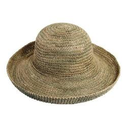 Women's Scala LG23 Crochet Straw Hat with Self Trim Natural
