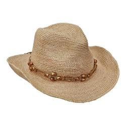 Women's Scala LR695OS Fine Pinch Cowboy Hat with Bead Natural