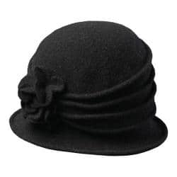 Women's Scala LW497 Knit Hat Cloche with Self Flower Black|https://ak1.ostkcdn.com/images/products/176/53/P21188128.jpg?impolicy=medium