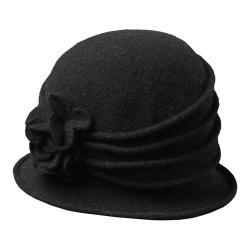 Women's Scala LW497 Knit Hat Cloche with Self Flower Black