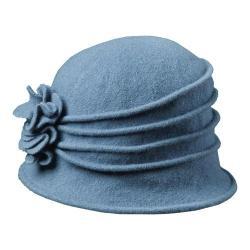 Women's Scala LW497 Knit Hat Cloche with Self Flower Denim