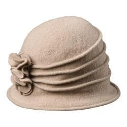 Women's Scala LW497 Knit Hat Cloche with Self Flower Taupe