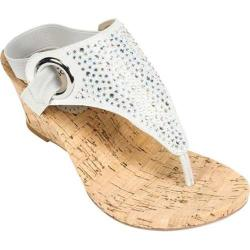 Women's White Mountain Aldon Cork Sandal Silver Metallic Fabric