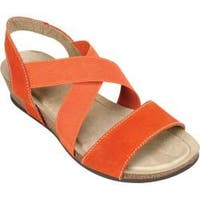 Women's White Mountain Carlisa Wedge Strappy Sandal Orange Leather