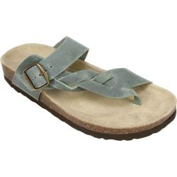 Women's White Mountain Crawford Thong Sandal Light Blue Crazy Horse Leather