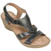 Women's White Mountain Norma Wedge Sandal Black Leather