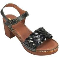 Women's White Mountain Pandora Quarter Strap Sandal Black Leather
