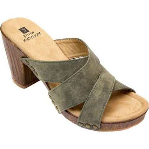 Women's White Mountain Sutton Criss Cross Slide Olive Suede