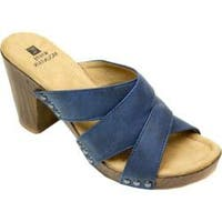 Women's White Mountain Sutton Criss Cross Slide Navy Suede